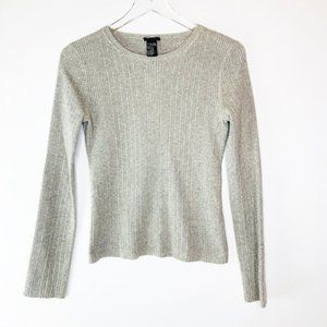 Theory Silk Cashmere Crewneck Ribbed Sweat…